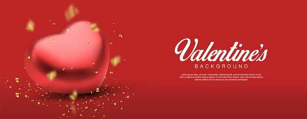 Día de san valentín realista. confeti y corazones rojos 3d románticos