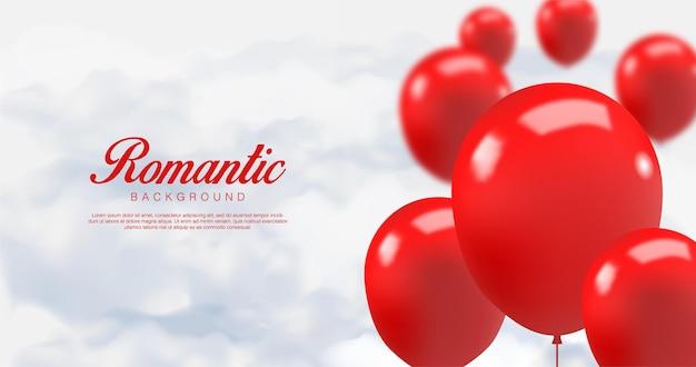 Día de san valentín realista. globos rojos románticos en las nubes