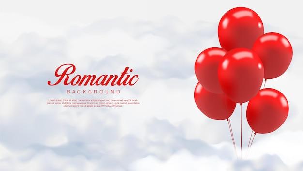 Día de san valentín realista. los globos rojos románticos se paran en las nubes