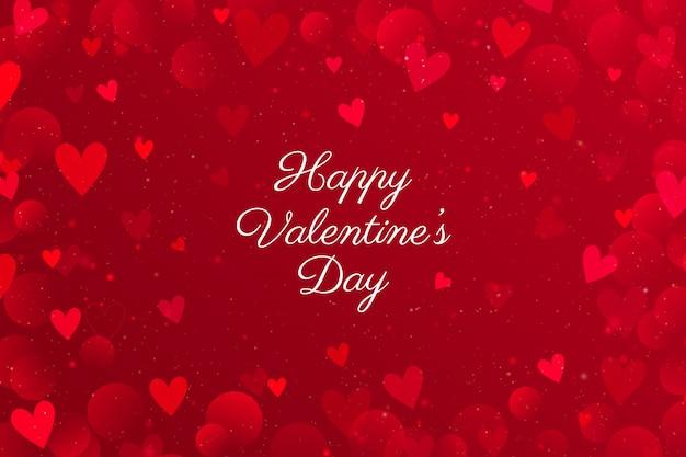 Día de san valentín rojo con corazones.