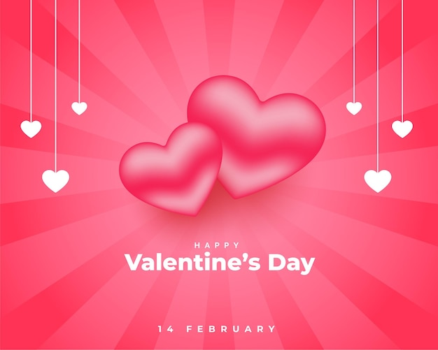 Día de san valentín rosa con diseño de corazones 3d