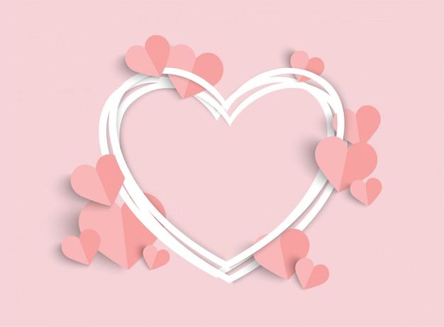 Día de san valentín rosa con forma de corazón