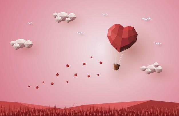 Día de san valentín de vacaciones, corazón de globo de aire caliente, low poly 3d, origami paper craft.
