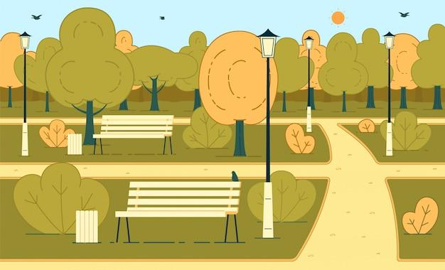 Día soleado de otoño en la ilustración de fondo de vector plano de parque