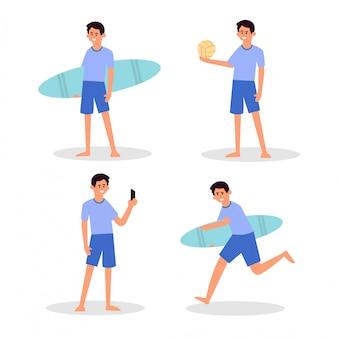 Día soleado en la playa. actividades de verano en la playa. deporte y ocio. chico, surfista, chico auto, y voleibol de mano chico y feliz vida activa
