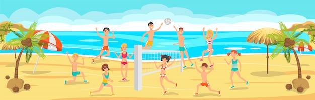Día soleado en la playa. los amigos juegan voleibol en la arena.