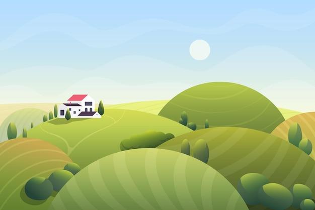 Día soleado de verano de fantasía de dibujos animados lindo con colinas redondeadas con curvas y hermosa casita rural
