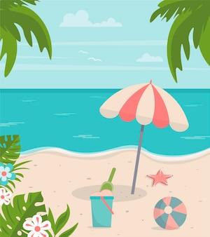 Día soleado de verano en la playa con palmeras, sombrilla, balde de arena, pelota de playa y estrellas de mar
