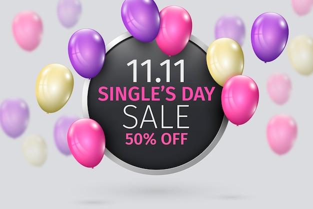 Día de los solteros con globos realistas