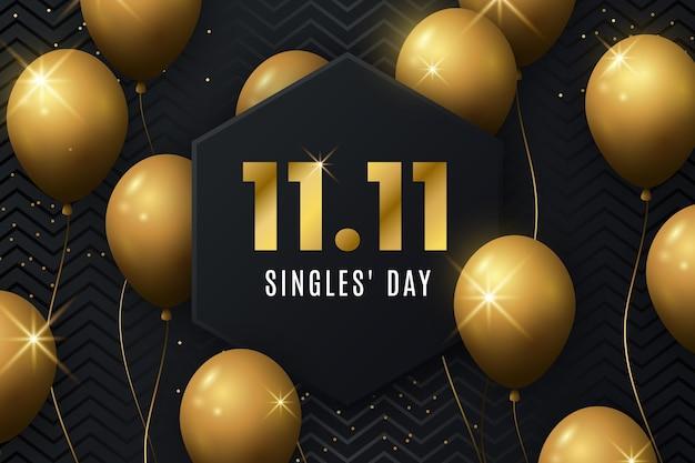 Día de los solteros negro y dorado