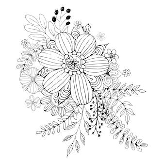 El día de tarjeta del día de san valentín feliz con vector del estilo del libro de colorear del ramo del garabato de la flor.