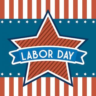 Día del trabajo estadounidense sobre rayas