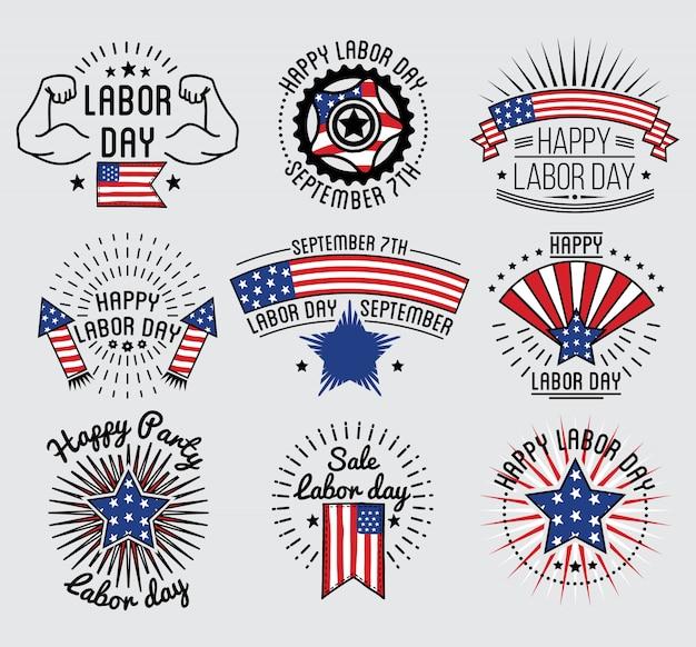 Día del trabajo fiesta nacional de los estados unidos establece insignia y diseño de etiquetas. ilustracion vectorial
