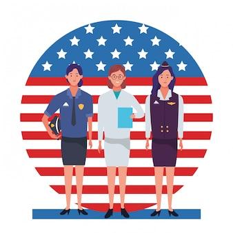 Día del trabajo ocupación laboral celebración nacional profesionales trabajadores delante de la bandera americana de los estados unidos ilustración