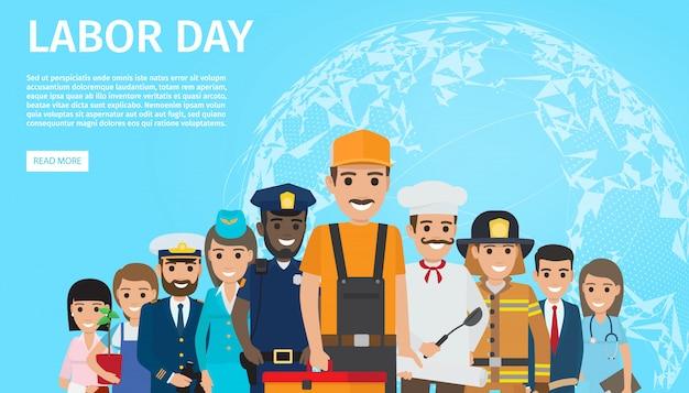 Día del trabajo plana vector web banner con profesiones