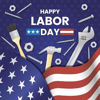 Día del trabajo realista con bandera americana y herramientas