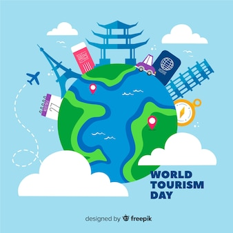 Día del turismo dibujado a mano con atracciones turísticas
