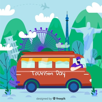 Día del turismo dibujado a mano con hitos