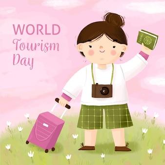 Día del turismo dibujado a mano con niña.