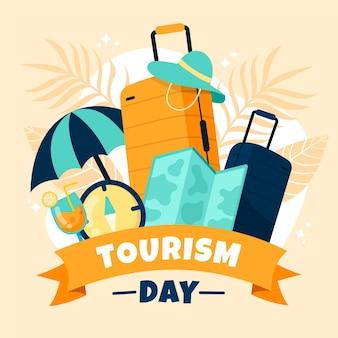 Día del turismo dibujado a mano.