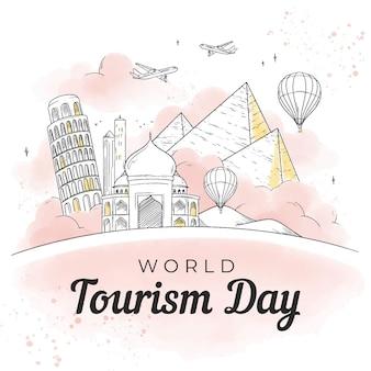 Día del turismo dibujado a mano