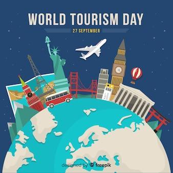 Día de turismo de diseño plano con hitos