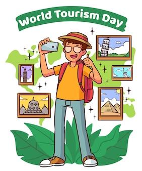 Día del turismo estilo dibujado a mano