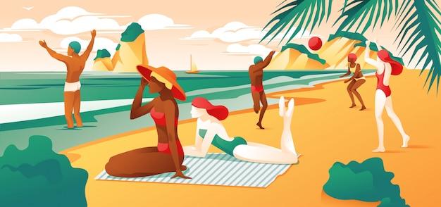 Día de verano playa dibujos animados gente jugar voleibol