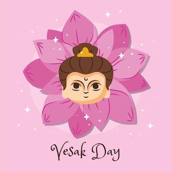 Día de vesak con flor de loto y mujer