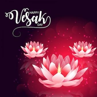 Día de vesak con flor de loto rosa