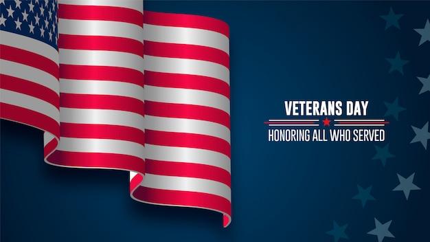 Día de los veteranos, 11 de noviembre, bandera de los estados unidos y honrando a todos los que sirvieron