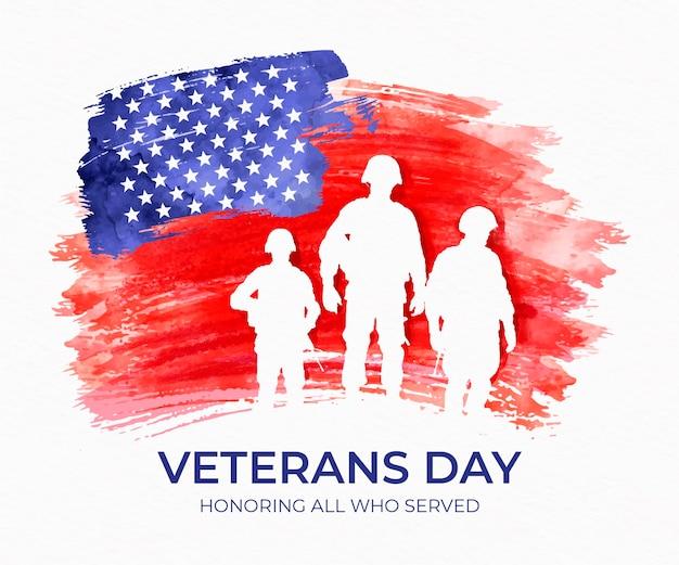 Día de los veteranos en acuarela con soldados.