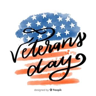 Día de los veteranos con bandera de acuarela