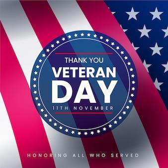 Día de los veteranos con bandera realista e insignia redonda