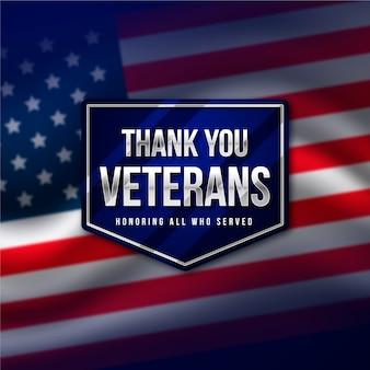Día de los veteranos con bandera realista