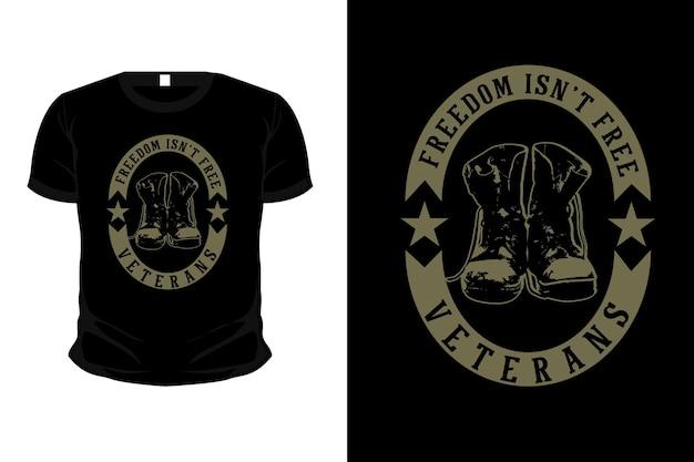 Día de los veteranos con diseño de camiseta de maqueta de silueta de mercancía del ejército de botas