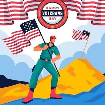Día de los veteranos de diseño plano con banderas.