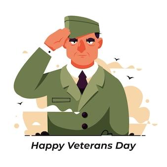 Día de los veteranos de diseño plano con soldado.