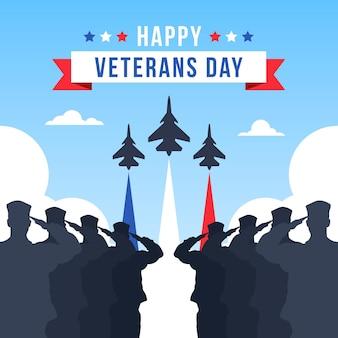 Día de los veteranos de diseño plano