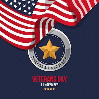 Día de los veteranos en diseño plano.