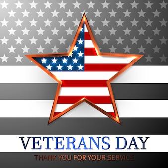 Día de los veteranos de estados unidos con la estrella en los colores de la bandera nacional bandera americana. honrando a todos que sirvieron.