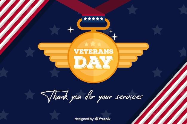 Día de los veteranos de fondo de diseño plano