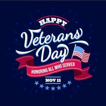 Día de los veteranos con letras de cinta