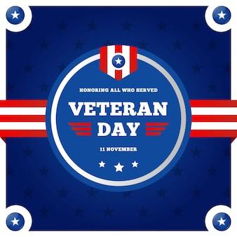 Día de los veteranos plana con logo de la bandera americana