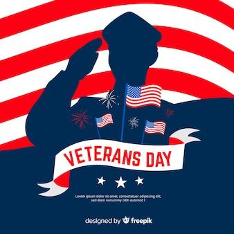 Día de los veteranos plana con silueta de soldado