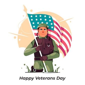 Dia de los veteranos plana con soldado.