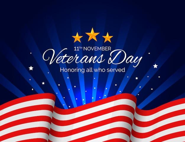 Día de los veteranos realista con bandera americana.