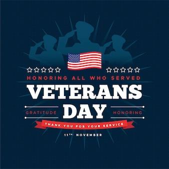 Día de los veteranos con soldados y bandera americana.