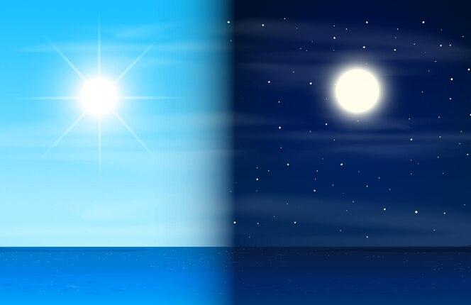 Día y noche en el océano