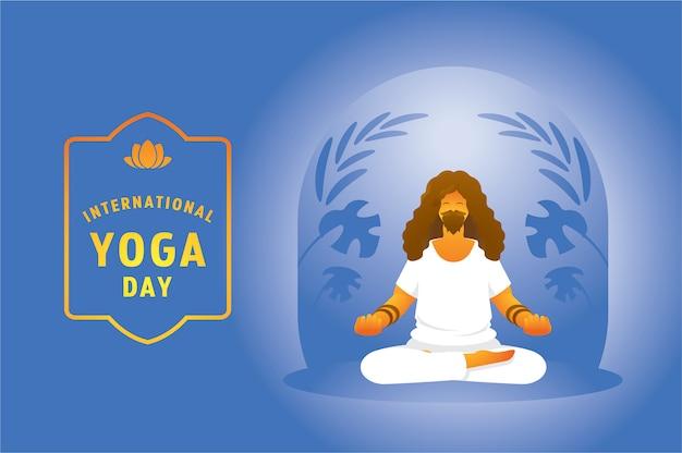 Día de yoga con hombre de barba pacífica